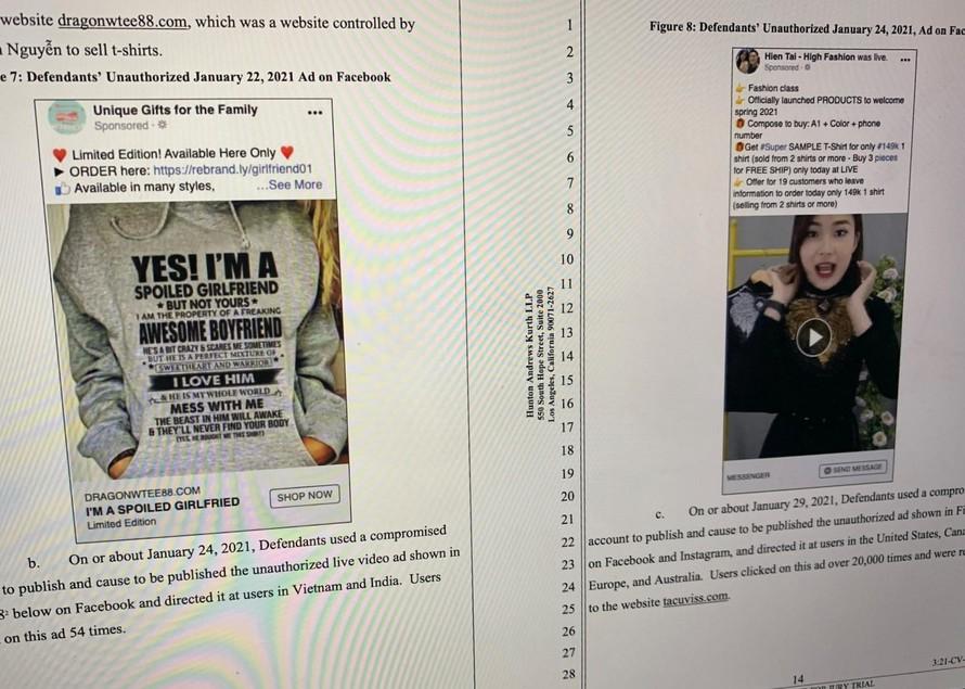 Facebook cáo buộc nhóm bị đơn đã quảng cáo, bán hàng trái phép để thu tiền